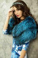 Горжетка из голубой лисы