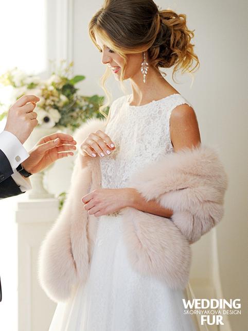 Палантин из финского песца для невесты. Качество LUXE. Шелк.