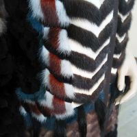 Дизайнерская шуба из норки, многоцветная. Шуба застегивается на молнию