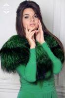 Горжетка из крашеной лисы. Зеленая