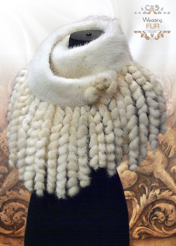 Накидка из норки махагон с ажурными косичками